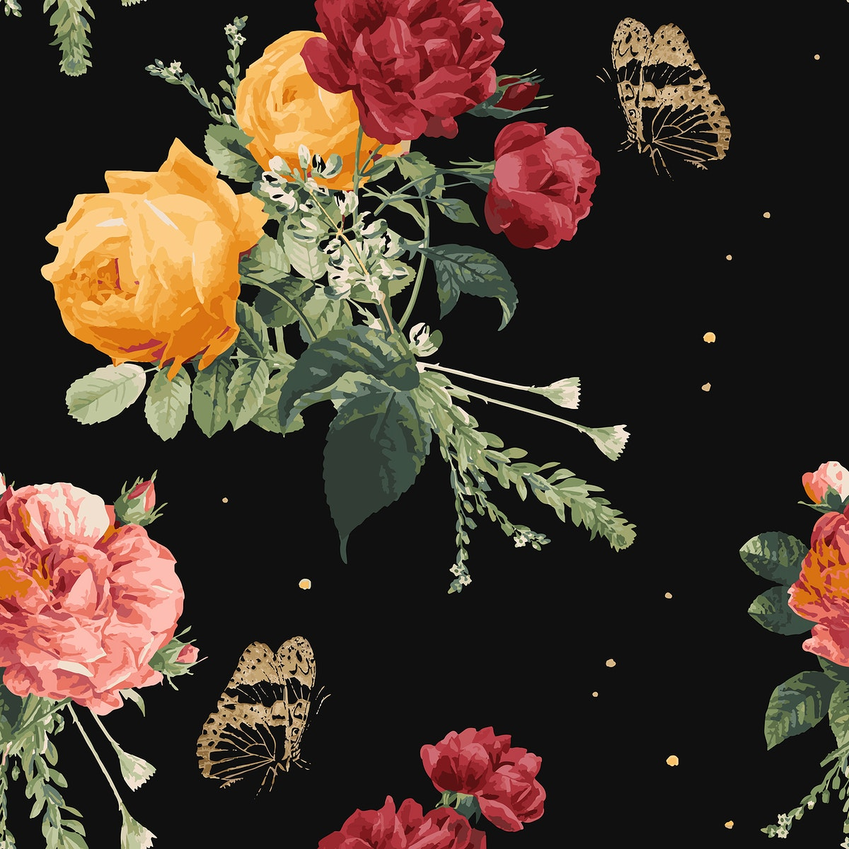 Vintage colorful roses pattern vector background