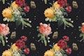 Vintage colorful roses pattern psd background
