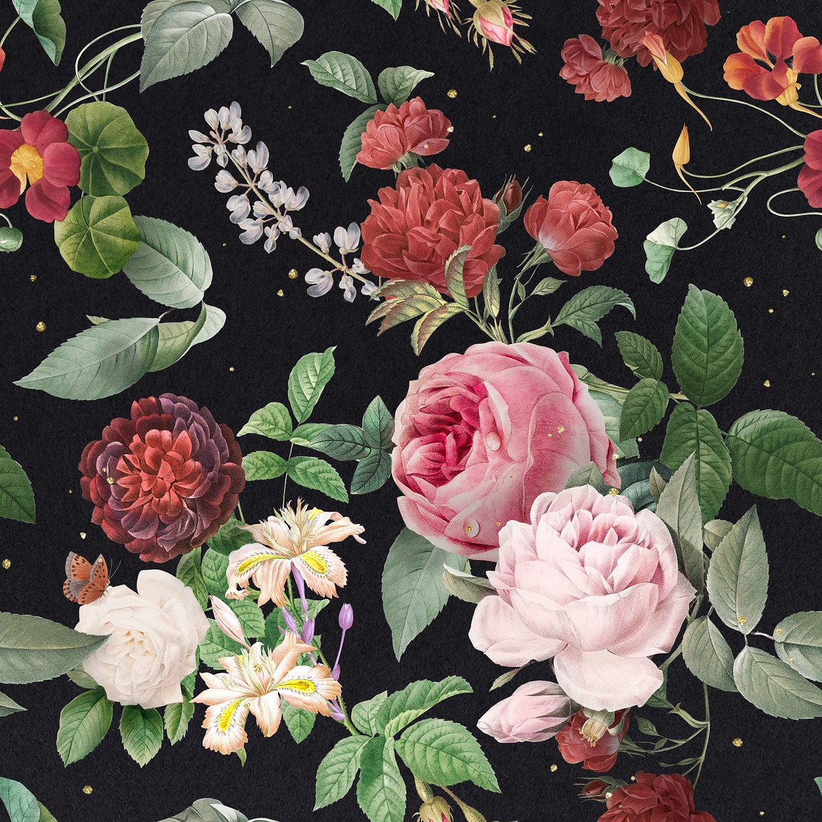 Pink roses and peony floral pattern vintage illustration