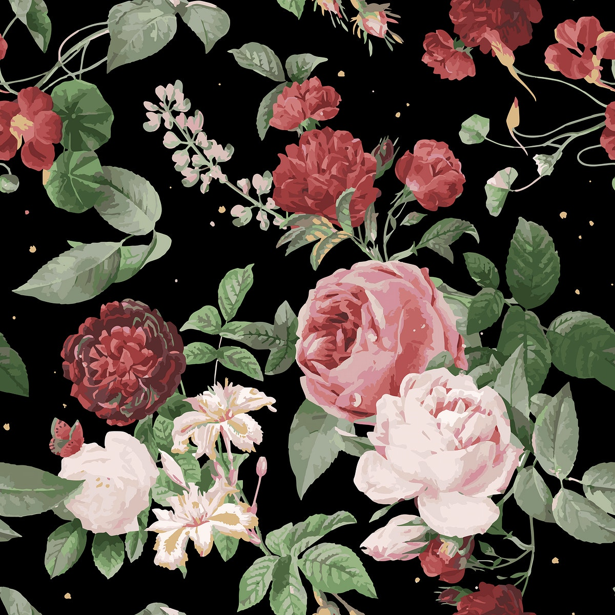Pink roses and peony vector floral pattern vintage illustration