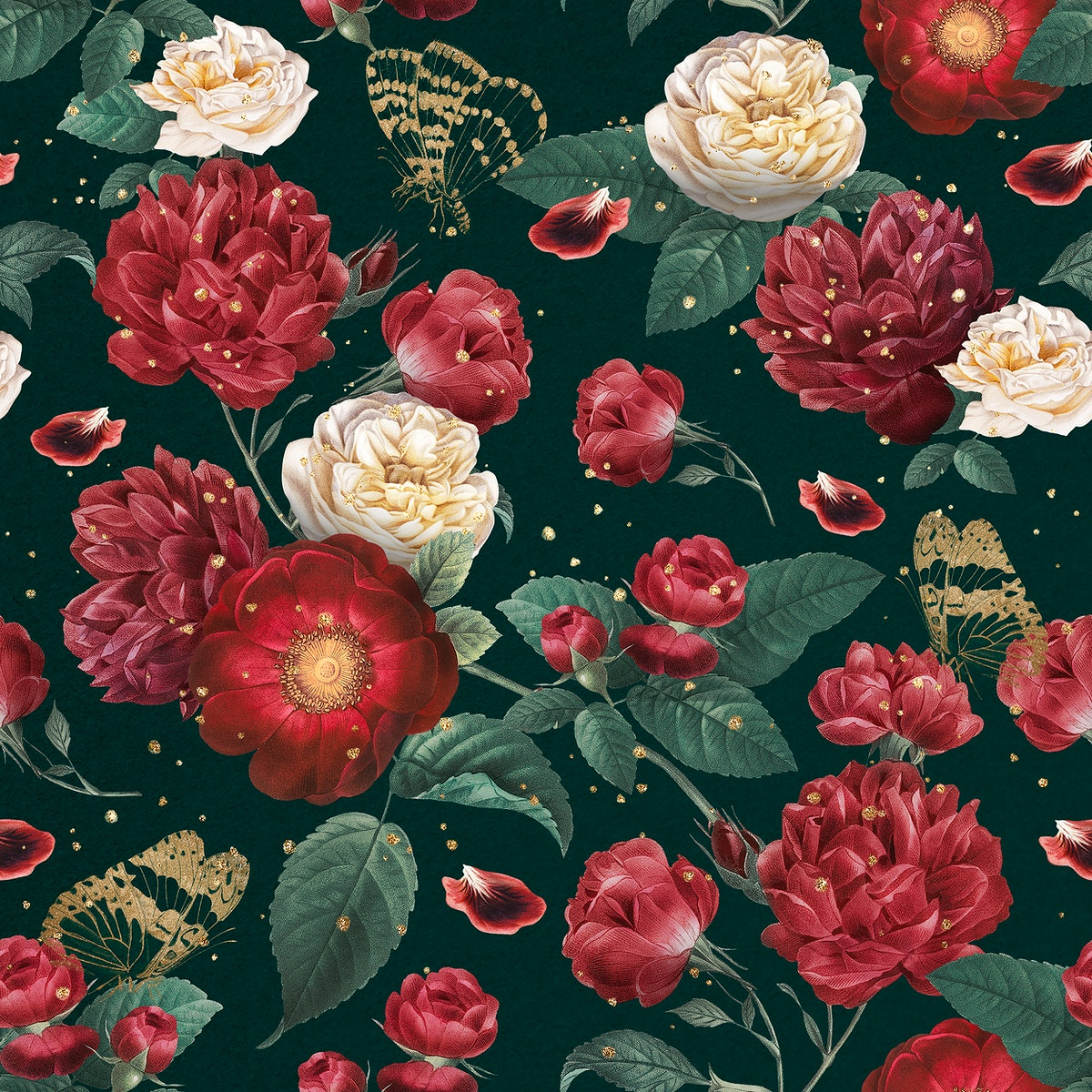 Classic romantic red roses floral pattern watercolor illustration