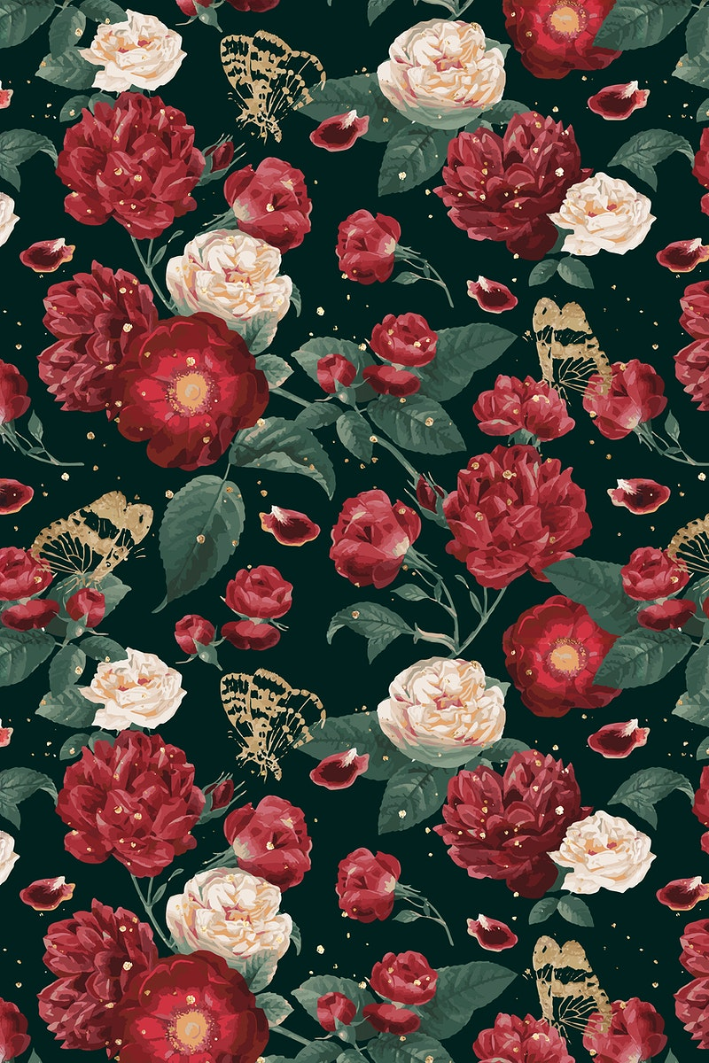 Classic romantic red roses vector floral pattern watercolor illustration