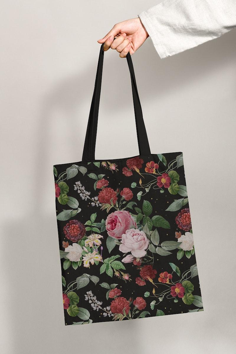 Classic floral tote bag apparel mockup