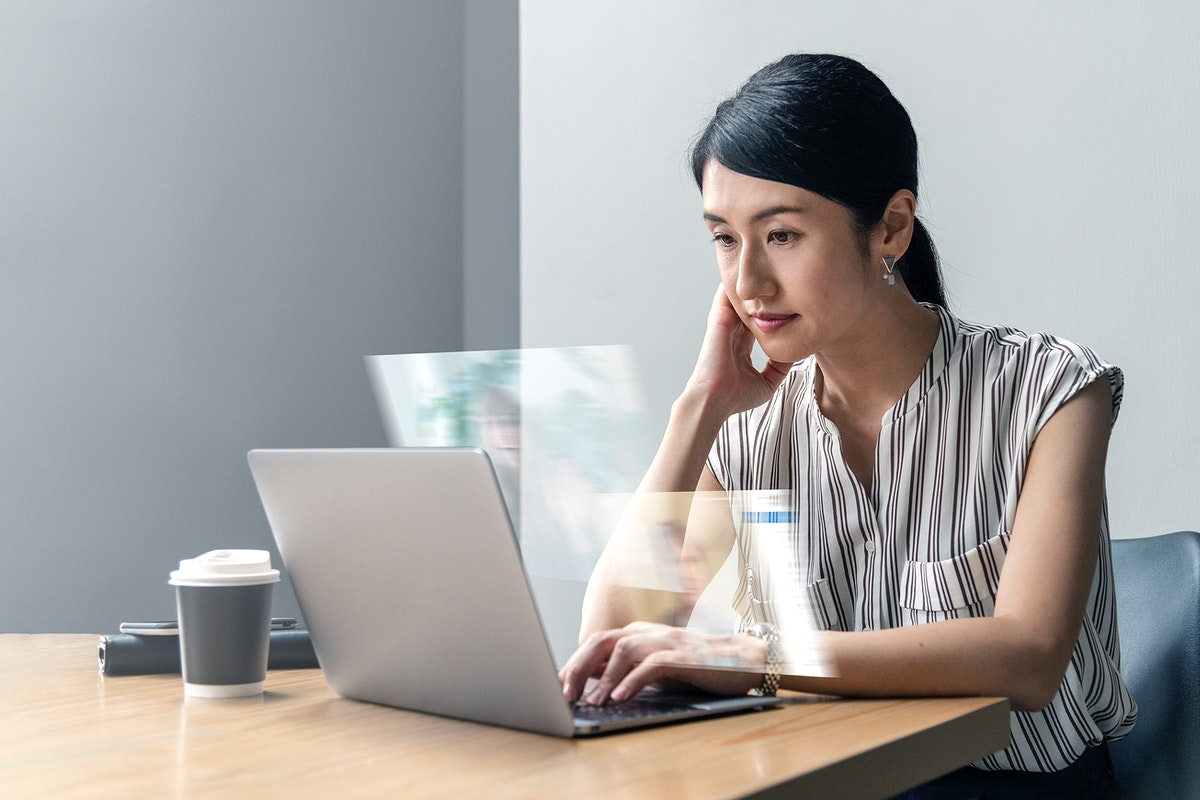 Japanese woman working from home in new normal life