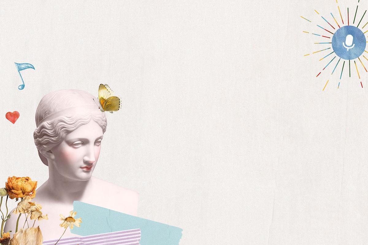 Greek goddess statue psd border aesthetic mixed media