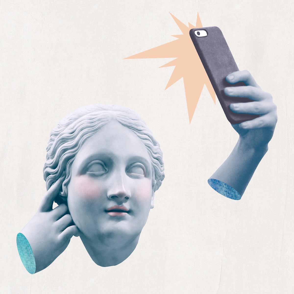 Greek selfie goddess statue social media addiction mixed media