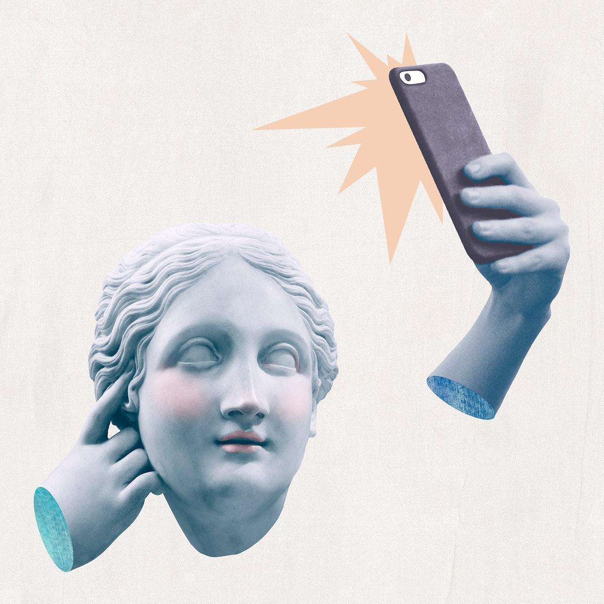 Greek selfie goddess statue psd social media addiction mixed media