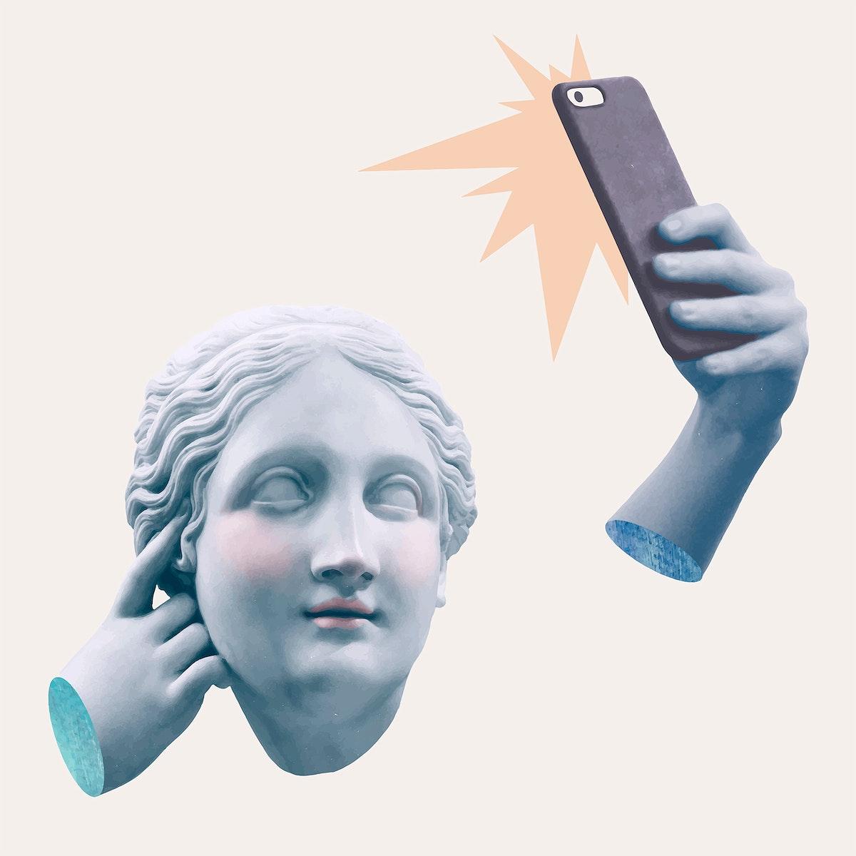 Greek selfie goddess statue vector social media addiction mixed media
