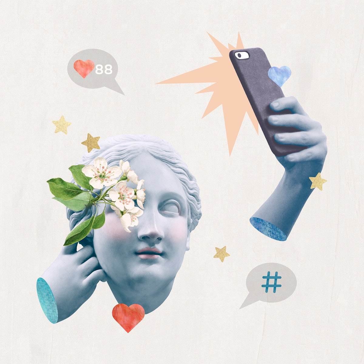 Creative social media blogger psd Greek statue media mix post
