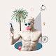 Travel blogger summer vibes vector Greek god statue social media post