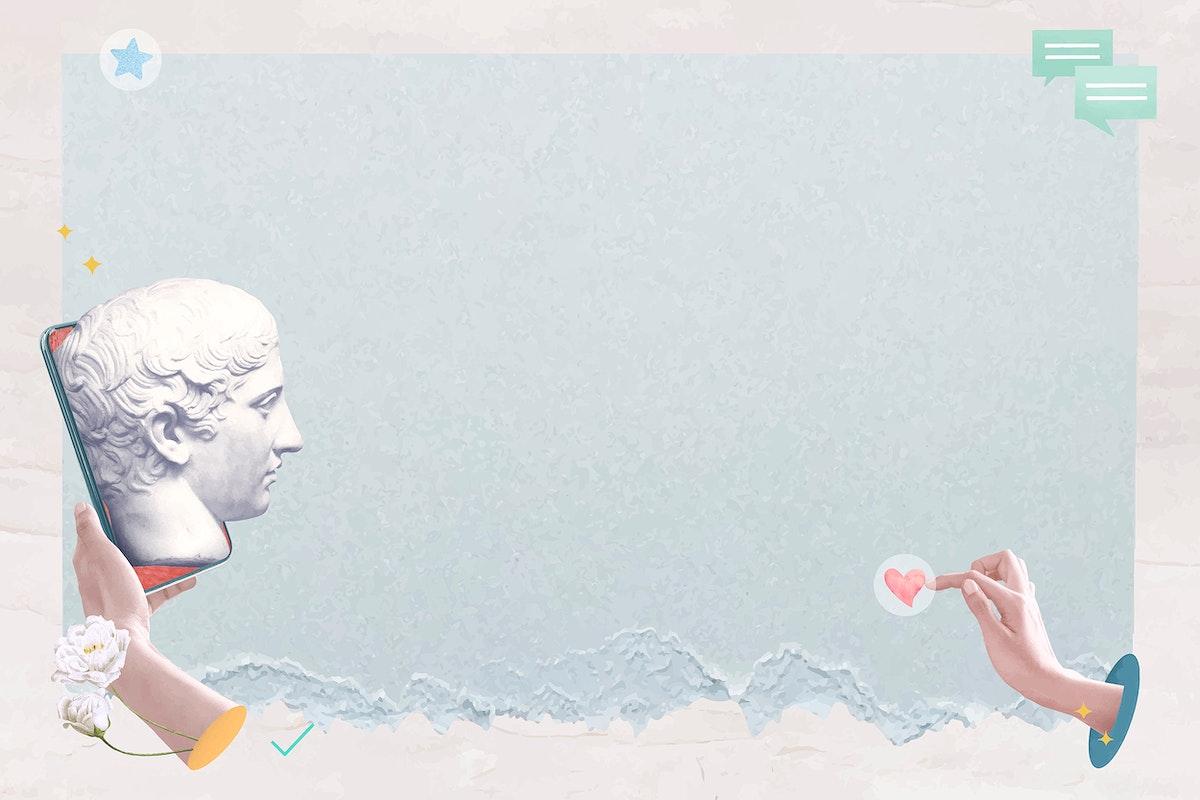 Aesthetic online dating frame vector blue Greek god statue