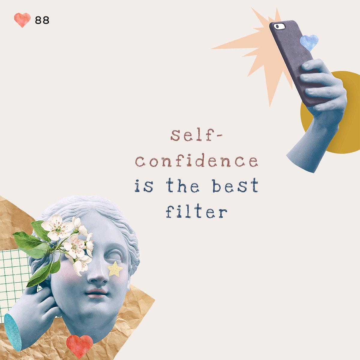 Self-love quote aesthetic psd social media post