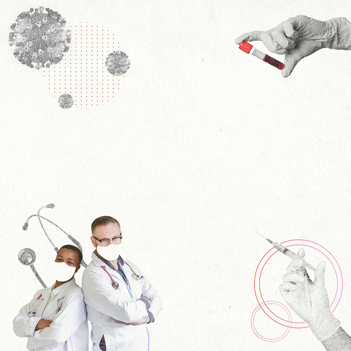 Frontline healthcare workers background psd