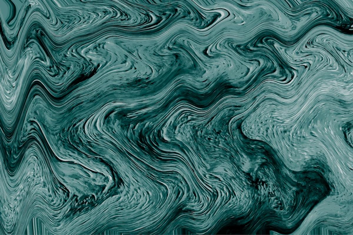 Green fluid art marbling paint textured background vector