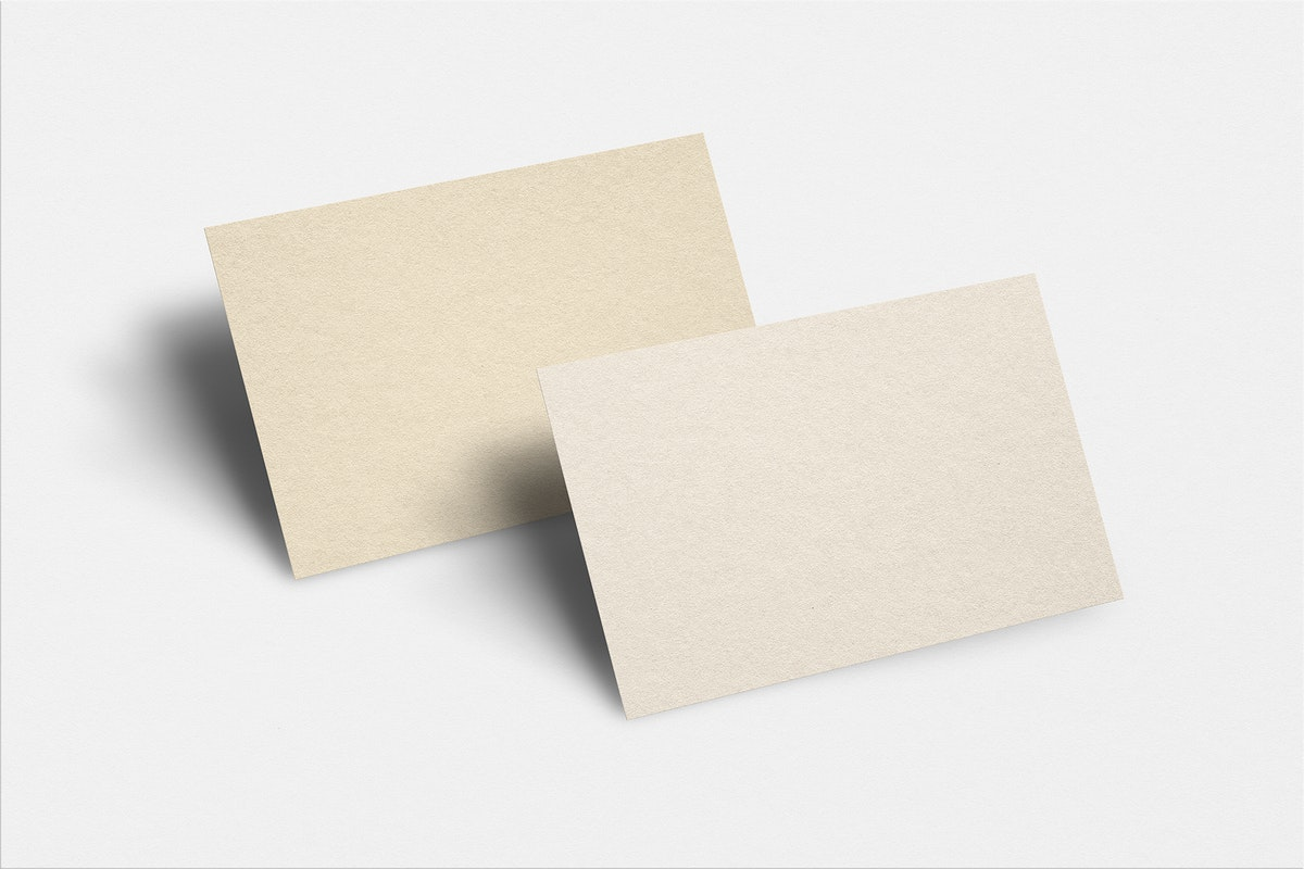 Blank business card mockup psd in light gold tone with front and rear view