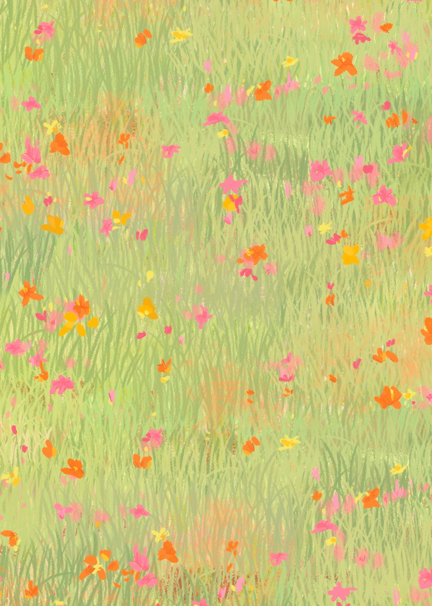 Poppy field psd sketch background bird eye view poster