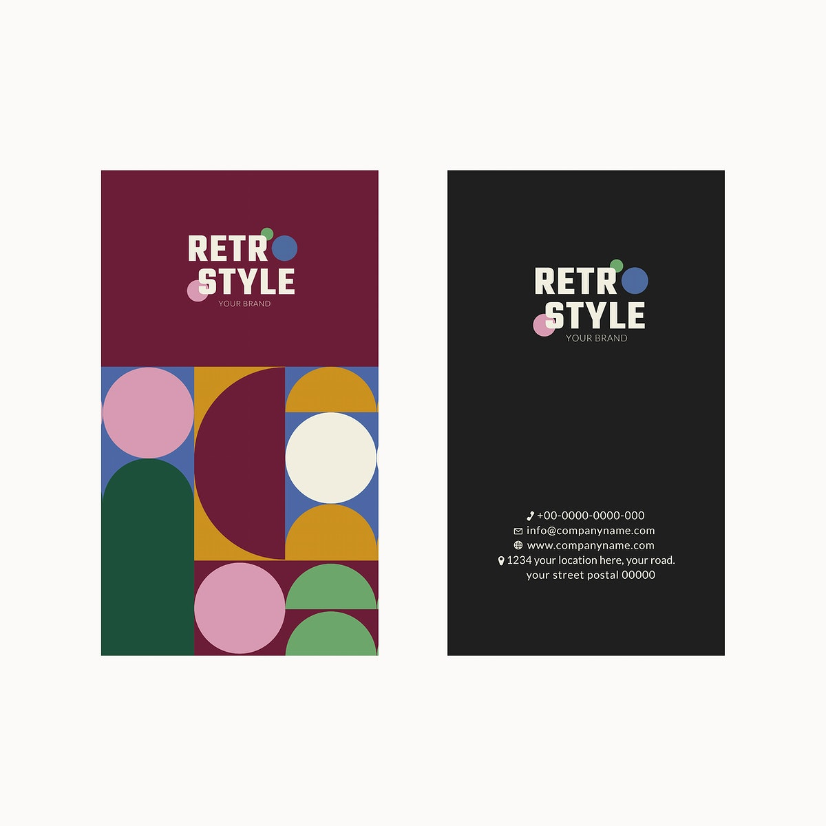 Editable business card template psd in purple retro style for fashion and beauty brands