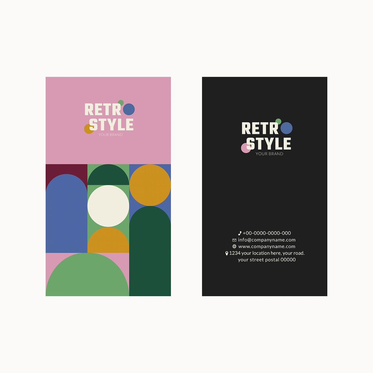 Editable business card template psd in pink retro style for fashion and beauty brands