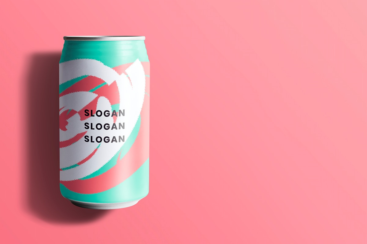 Colorful soda can mockup psd for beverage packaging design