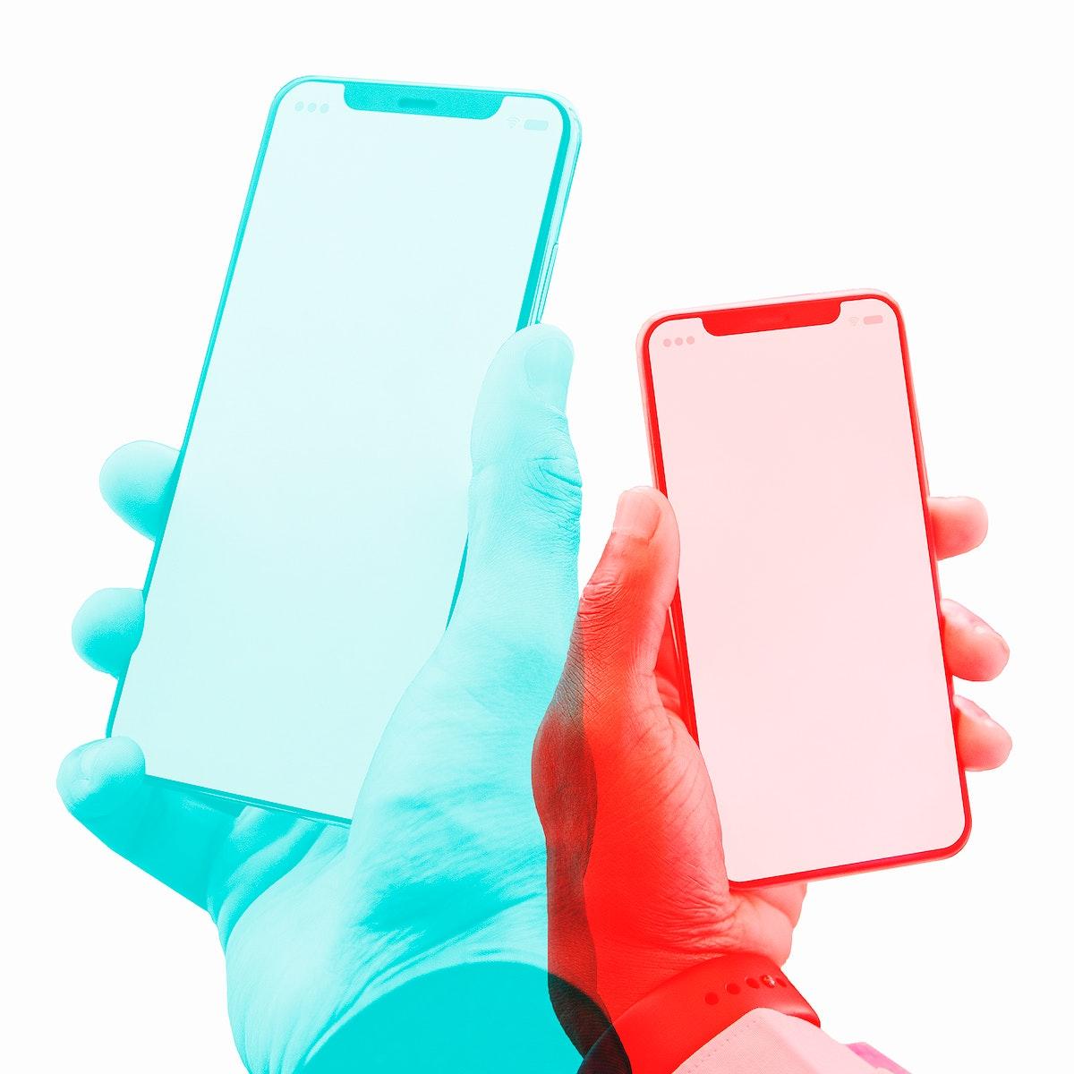 Smartphones with blank screens in double color exposure effect