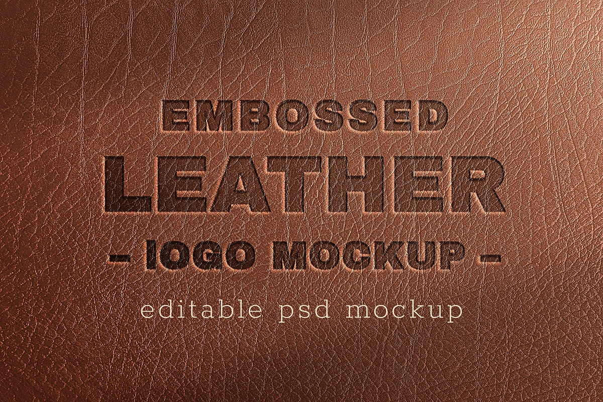 Logo mockup psd on leather texture background