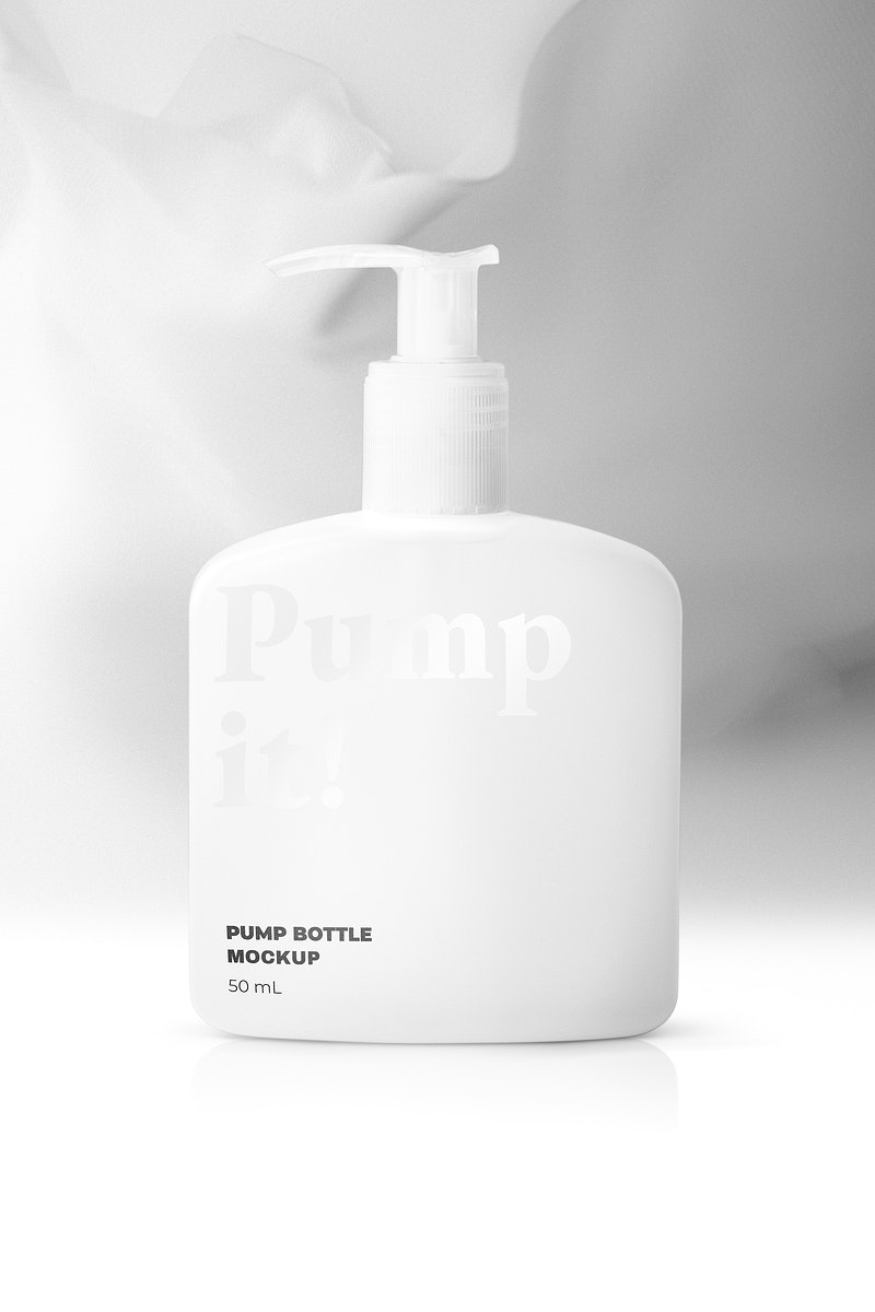 Pump bottle mockup psd for shower cream and lotion
