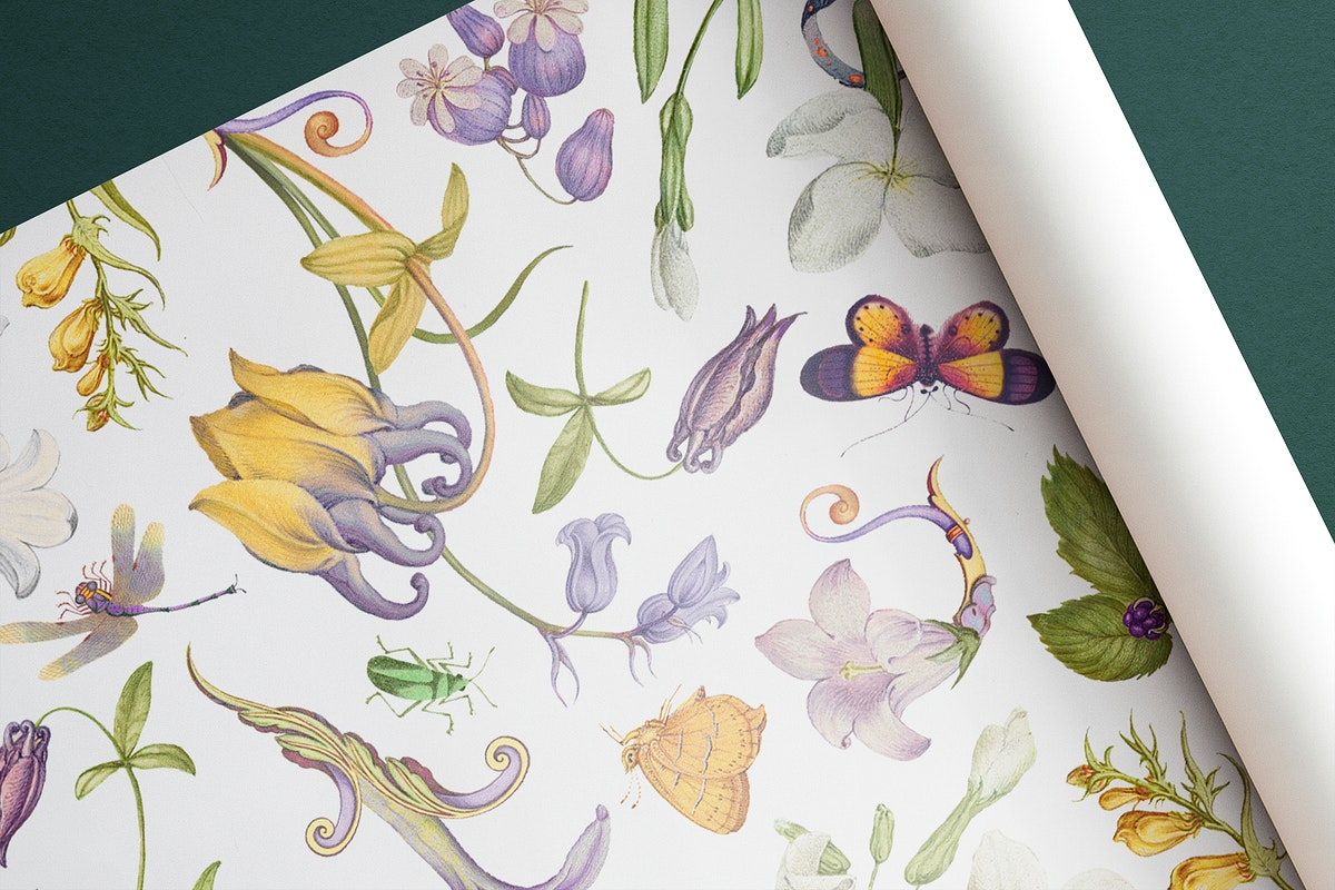 Floral wrapping paper mockup psd hand drawn vintage style, remixed from artworks by Pierre-Joseph Redouté