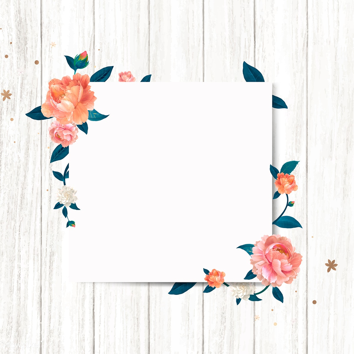 Download Premium Illustration Of Blank Square Floral Frame Template Vector