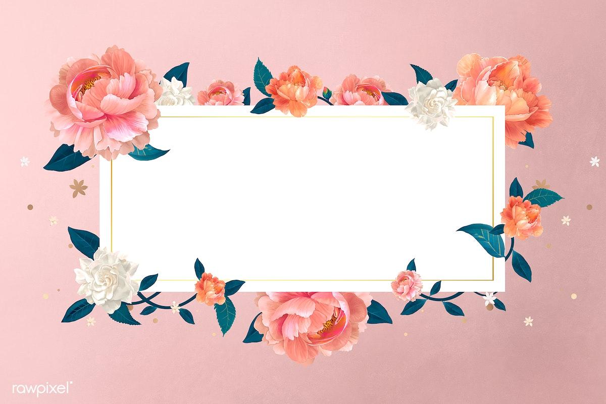 Download premium illustration of Blank floral banner template illustration