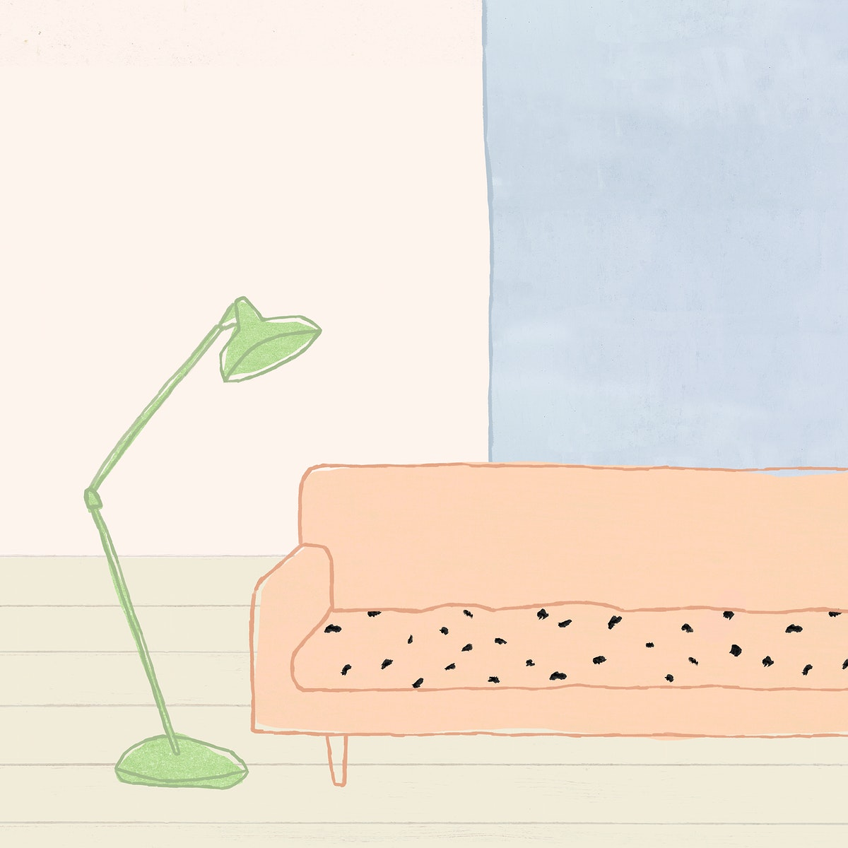 Sofa and lamp background psd cute home interior illustration for social media post