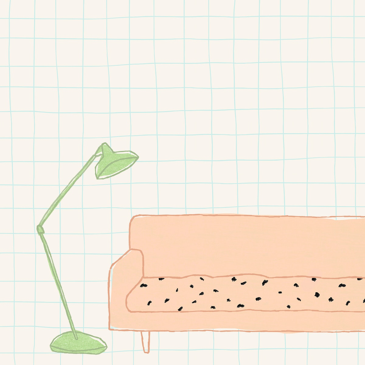 Sofa and lamp background cute home interior illustration for social media post