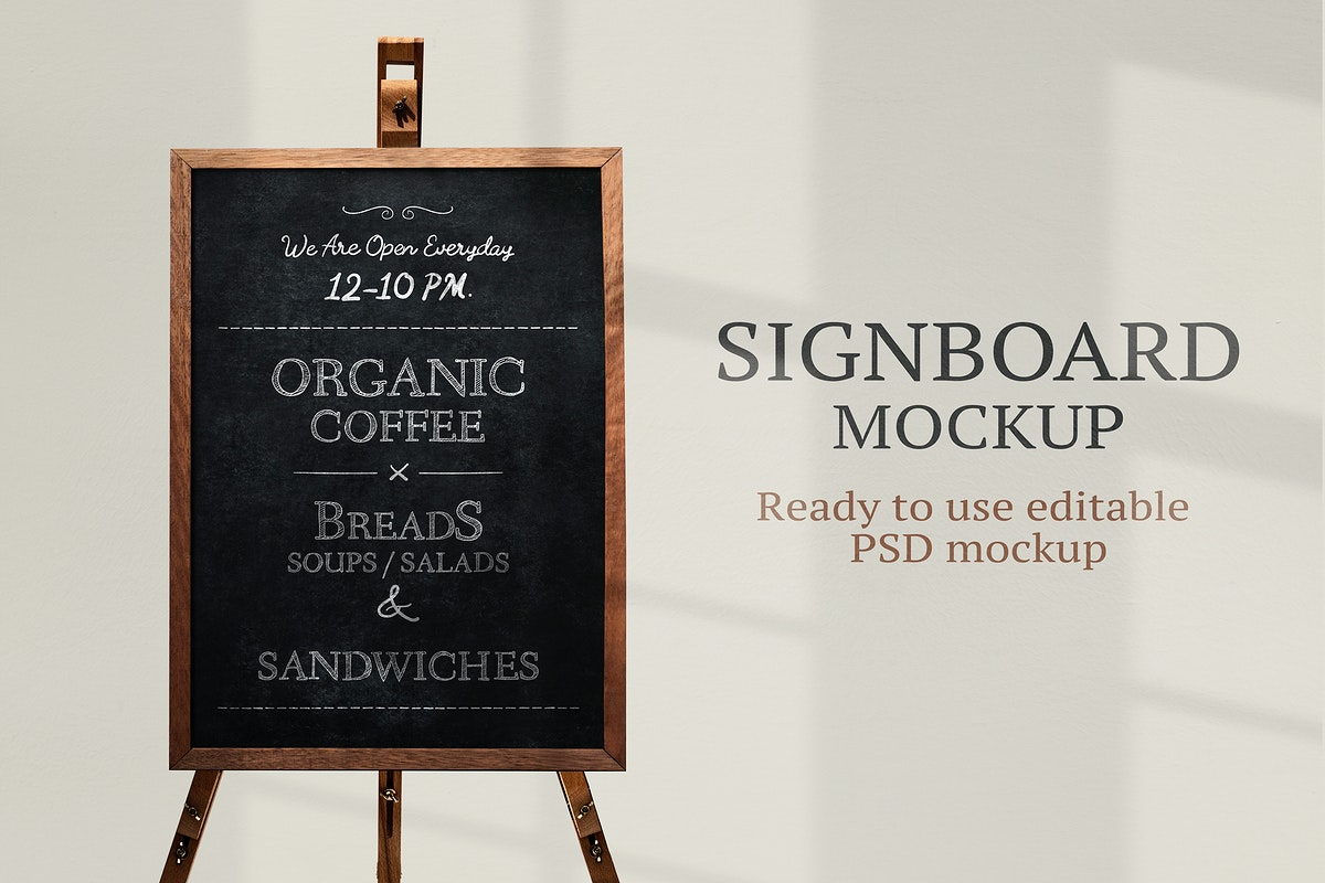 Signboard mockup psd with wooden stand