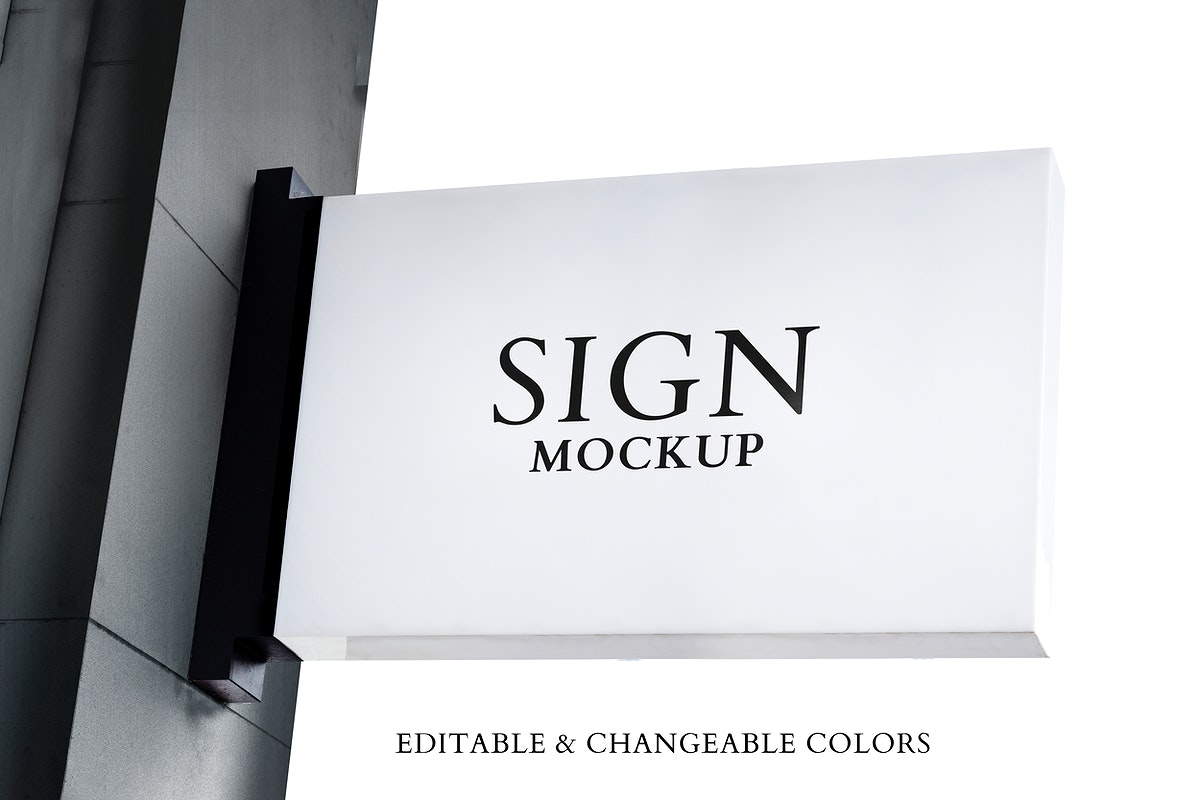 Signboard mockup psd on a wall