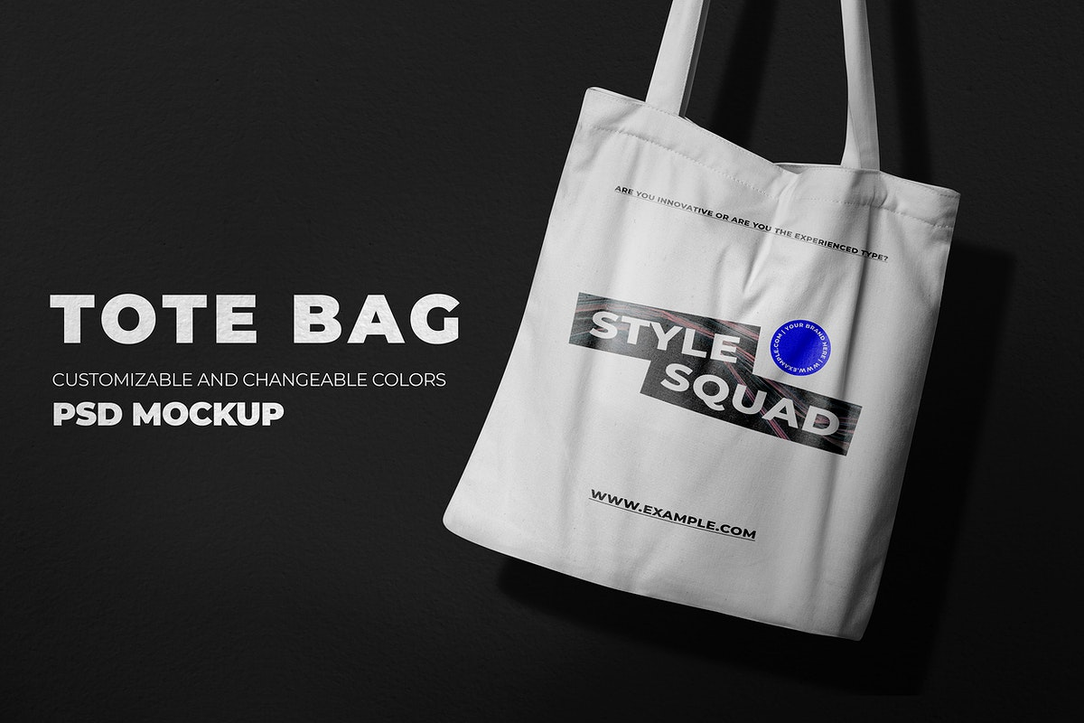 Cool tote bag mockup psd in canvas