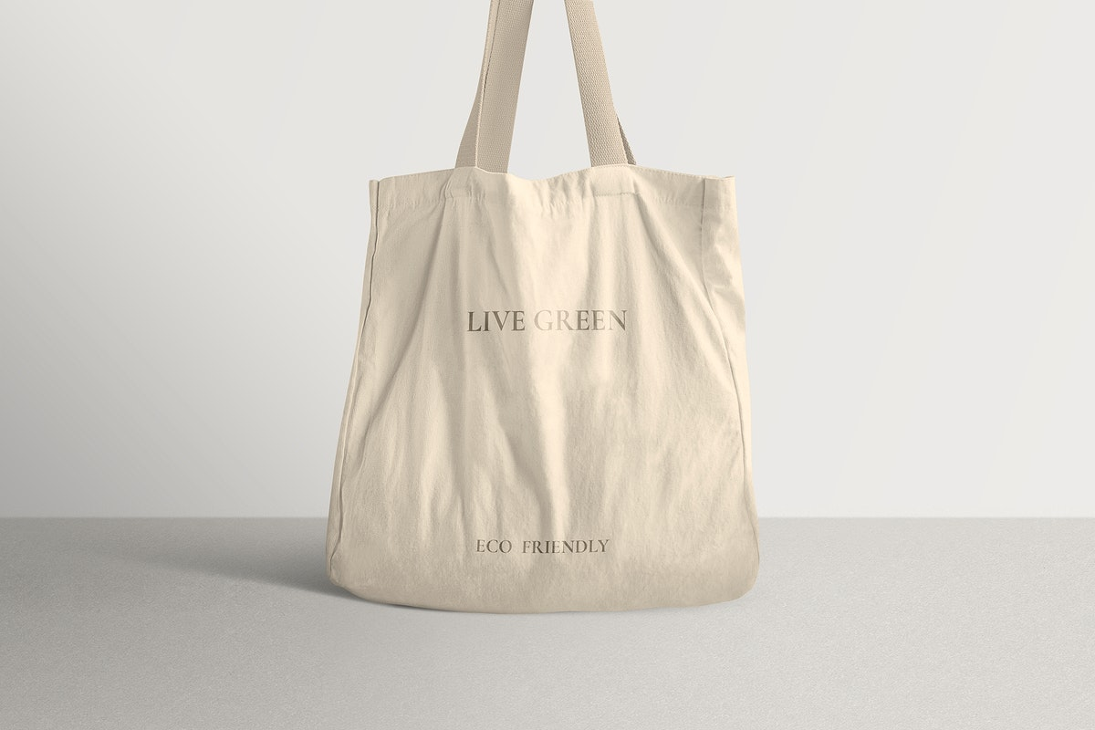 Canvas tote bag mockup psd in minimal style