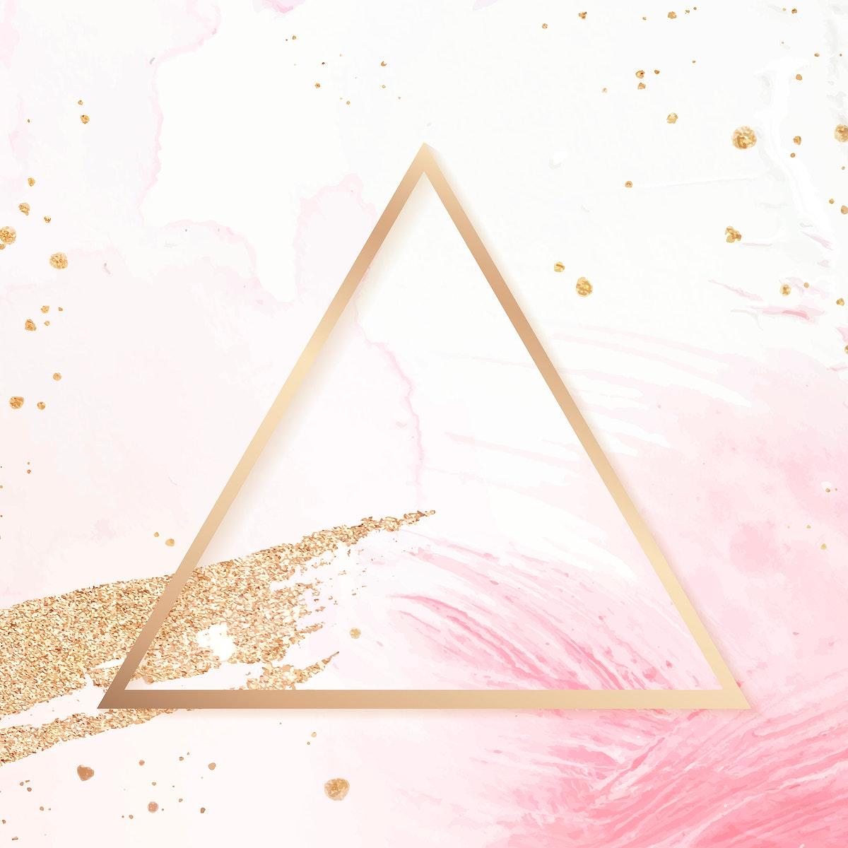 golden frame triangle, badge, banner, blog