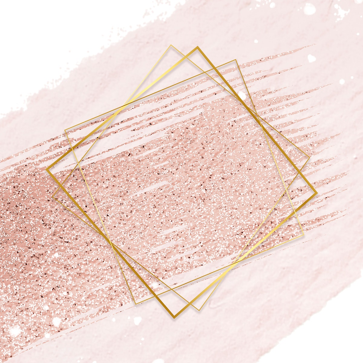 Gold rhombus frame on a pastel pink background
