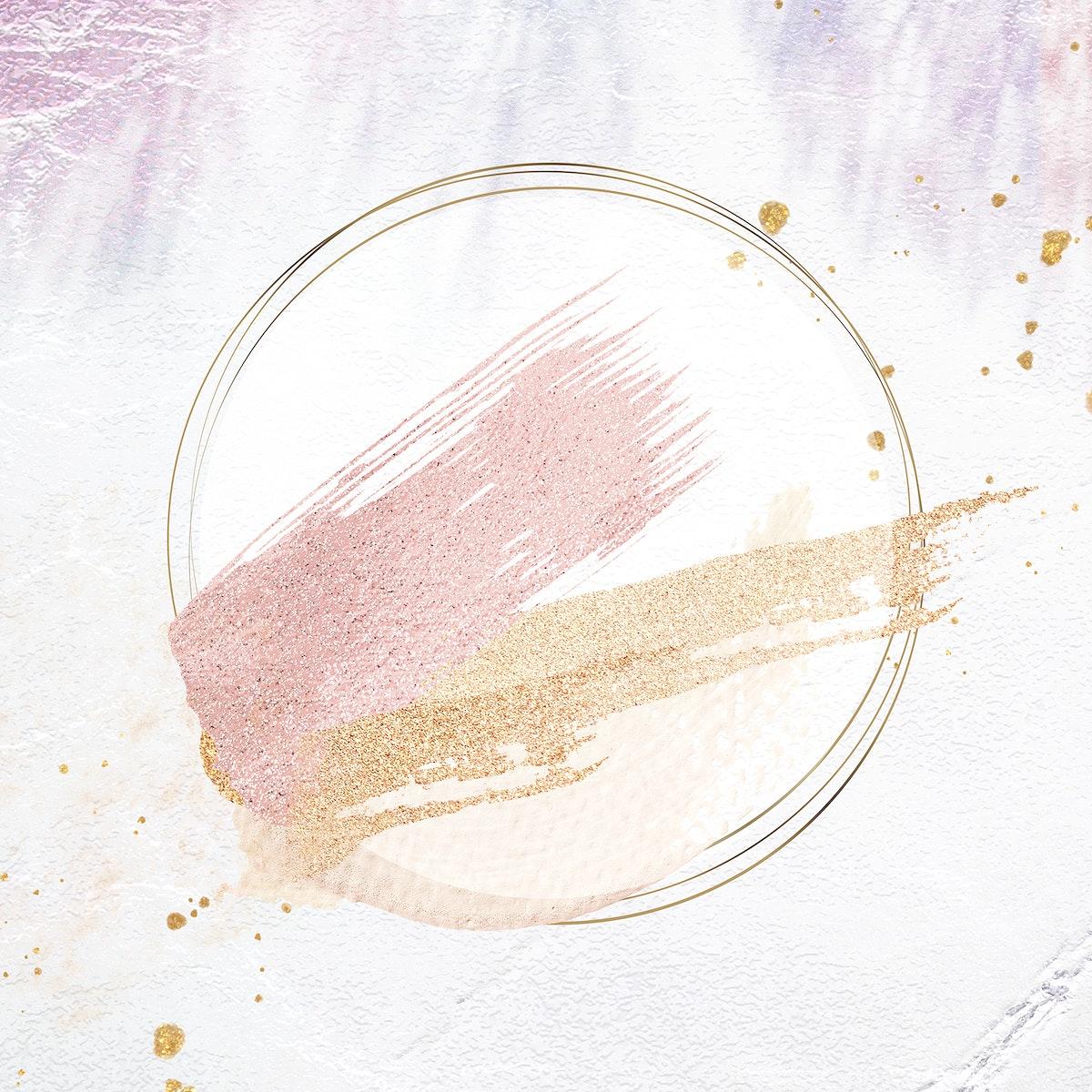 Gold circle frame on a pastel brushstroke background illustration