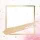Gold square frame on a feminine pink background illustration