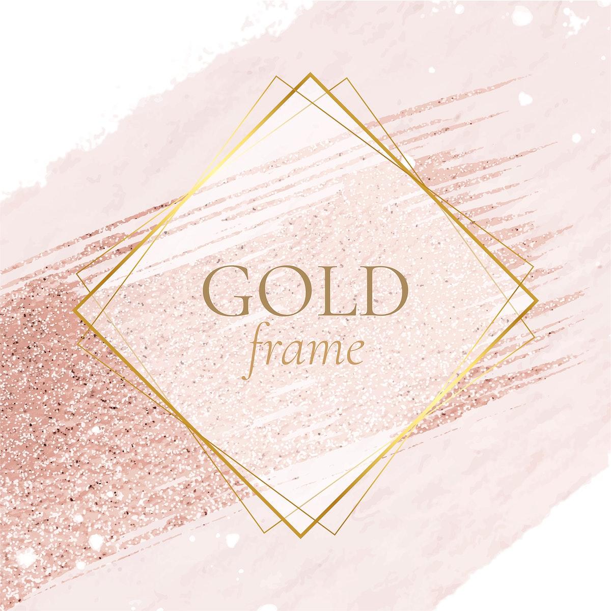 rhombus frame, gold square frames, badge, banner