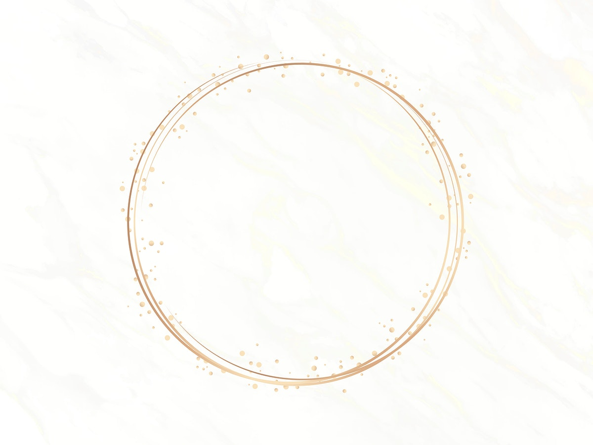 Gold circle frame on a white marble background