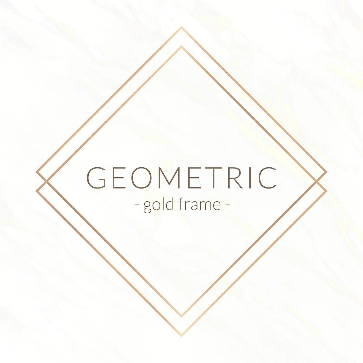 Gold rhombus frame on a white marble background illustration