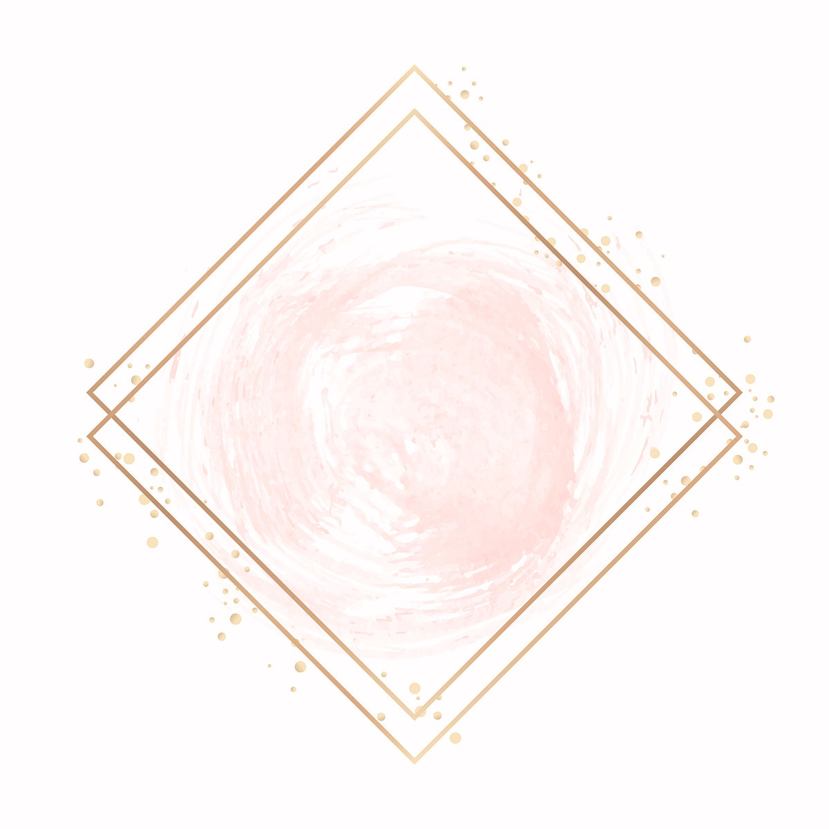 Gold rhombus frame on a pastel pink background vector