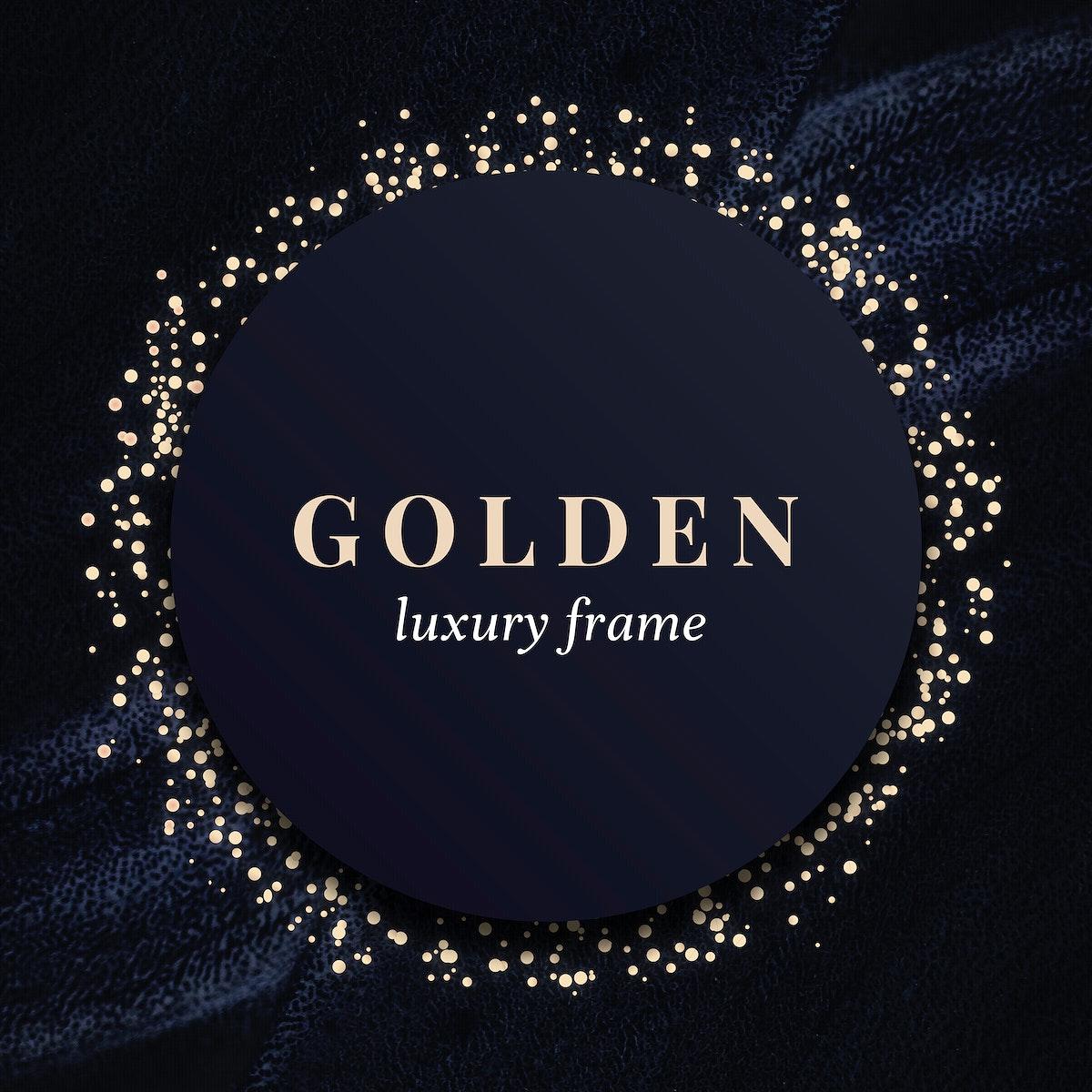 Gold circle frame on a black background illustration