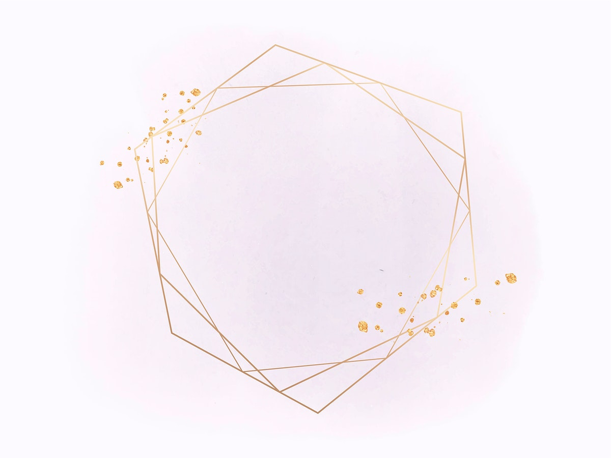 Gold geometric frame on a pink background