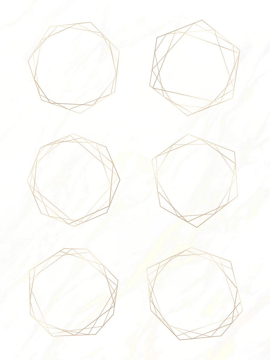 Gold geometric frame vectors set on a white marble background vector