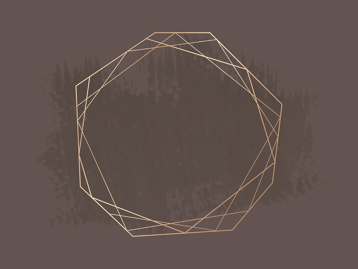 Gold geometric frame on a brown brushstroke patterned background