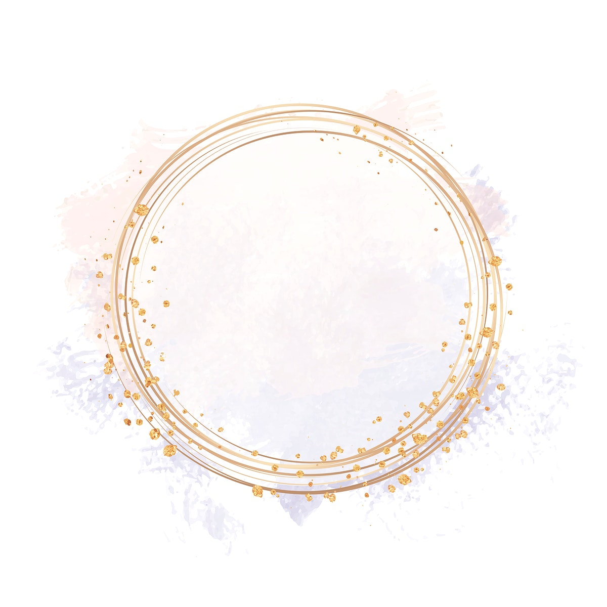 Gold circle frame on a pastel pink and purple background illustration