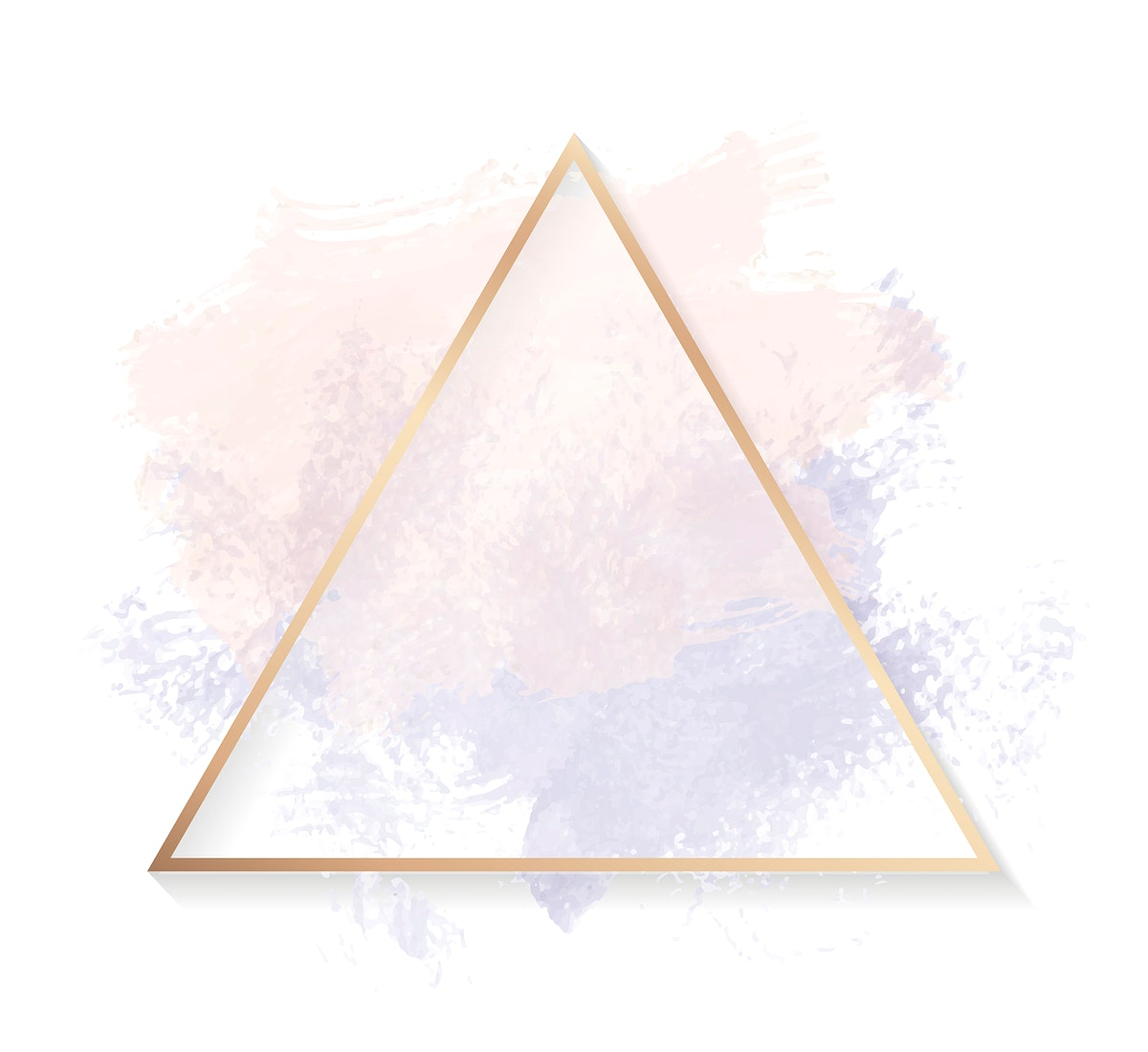 Gold triangle frame on a pastel pink and purple background