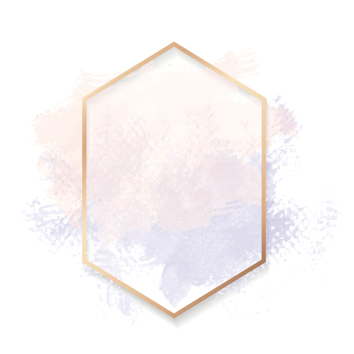 Gold hexagon frame on a pastel pink and purple background vector